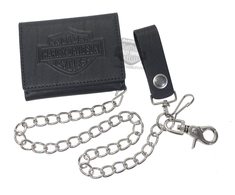 Harley-Davidson® Mens B&S Logo Biker Short Black Leather Trifold Wallet