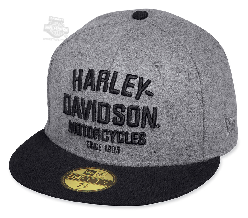 Harley-Davidson® Mens Wool Crown 59FIFTY® by New Era 5950 Grey Polyester Fitted Baseball Cap