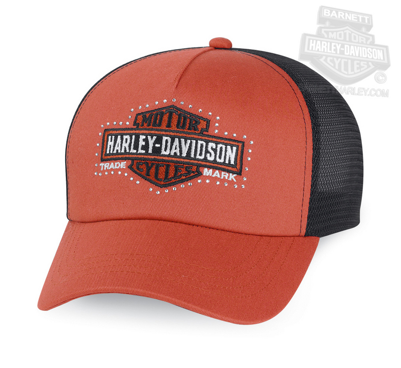 Harley-Davidson® Womens Trademark B&S Embellished with Mesh Orange Cotton Trucker Cap