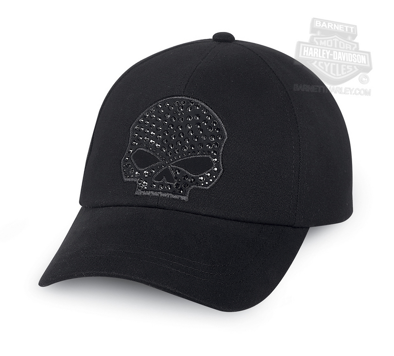 Harley-Davidson® Womens Willie G Skull Embellished Black Cotton Baseball Cap