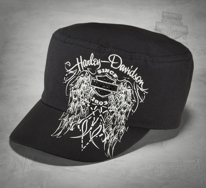 Harley-Davidson® Womens Embellished Winged B&S Black Cotton Flat Top Cap