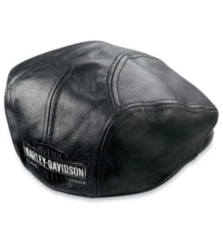 Harley-Davidson® Nostalgic Trademark Long B&S Black Leather Ivy Cap