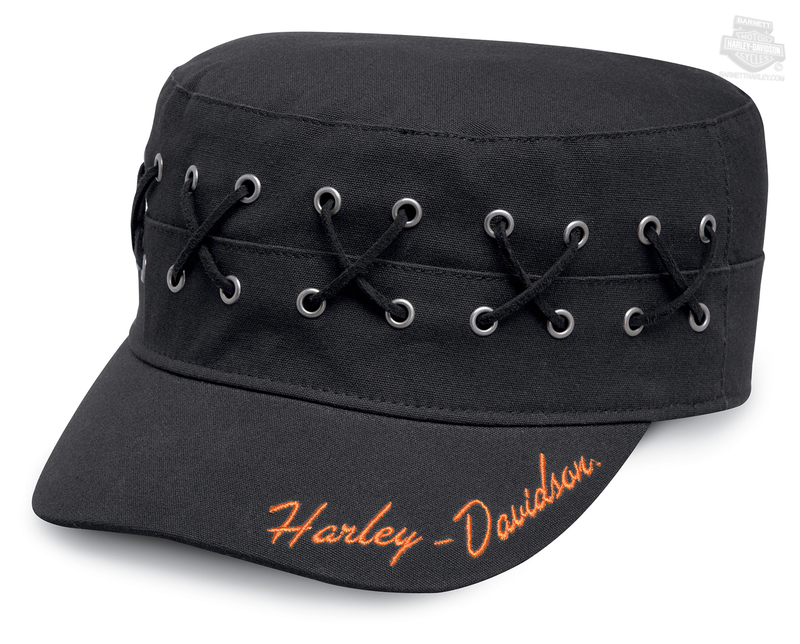 Harley-Davidson® Womens Laced & Eyelet Black Cotton Flat Top Cap