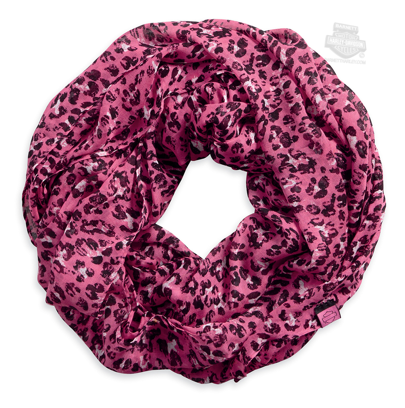Harley-Davidson® Womens Pink Label Leopard Infinity Pink Rayon Scarf