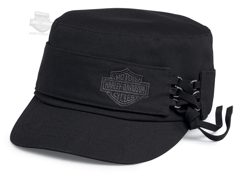 Harley-Davidson® Womens Laced Side B&S Black Cotton Flat Top Cap