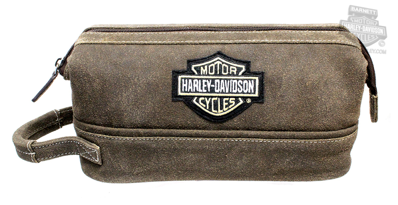 Harley-Davidson® Mens B&S Logo Brown Leather Toiletry Kit