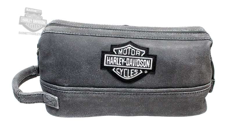 Harley-Davidson® Mens B&S Logo Grey Leather Toiletry Kit