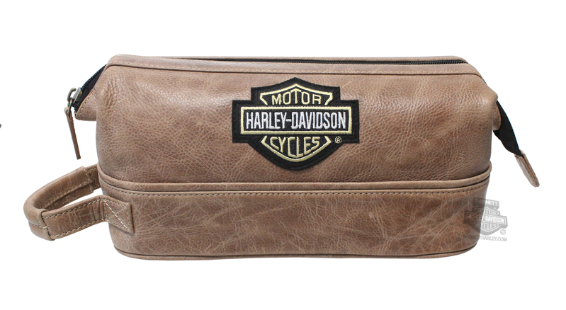 Harley-Davidson® Mens B&S Logo Dark Brown Leather Toiletry Kit