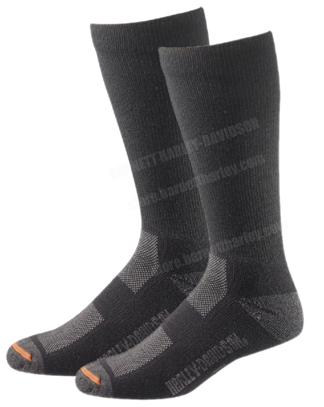 Harley-Davidson® Mens Mid Calf Vented Performance Warm Riding Socks Black Sock