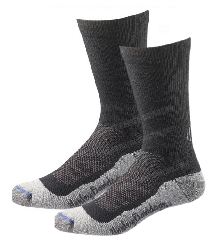 Harley-Davidson® Mens Mid Calf Performance Coolmax® Riding Socks Black Sock