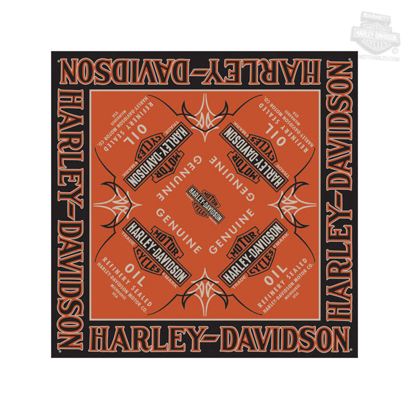 Harley-Davidson® Mens Genuine Oil Trademark B&S Dyed Orange Cotton Bandana