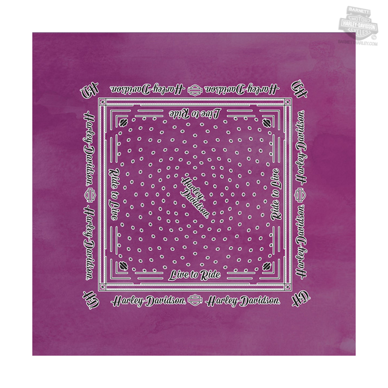 Harley-Davidson® Womens Live To Ride Purple Polyester Bandana