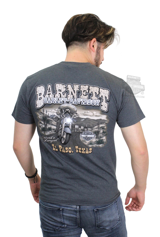 Harley-Davidson® Mens Mexican Bandit Mini Crest Front Grey Ink Charcoal Short Sleeve T-Shirt