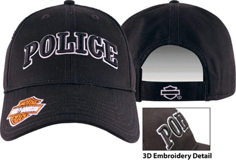 Harley-Davidson® Mens Police 3D Embroidered Black Cotton Baseball Cap