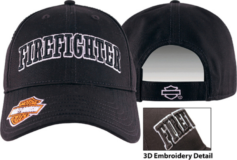 Harley-Davidson® Mens Firefighter 3D Embroidered Black Cotton Baseball Cap