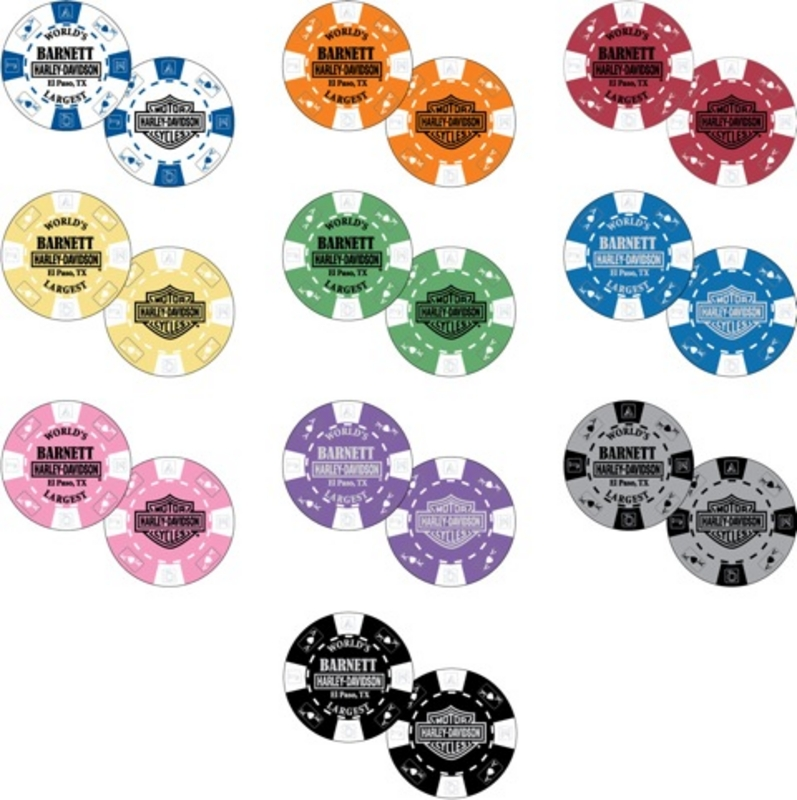 ** 5 for $5 ** Harley-Davidson® Barnett Single Poker Chip - Assorted Colors Mix & Match