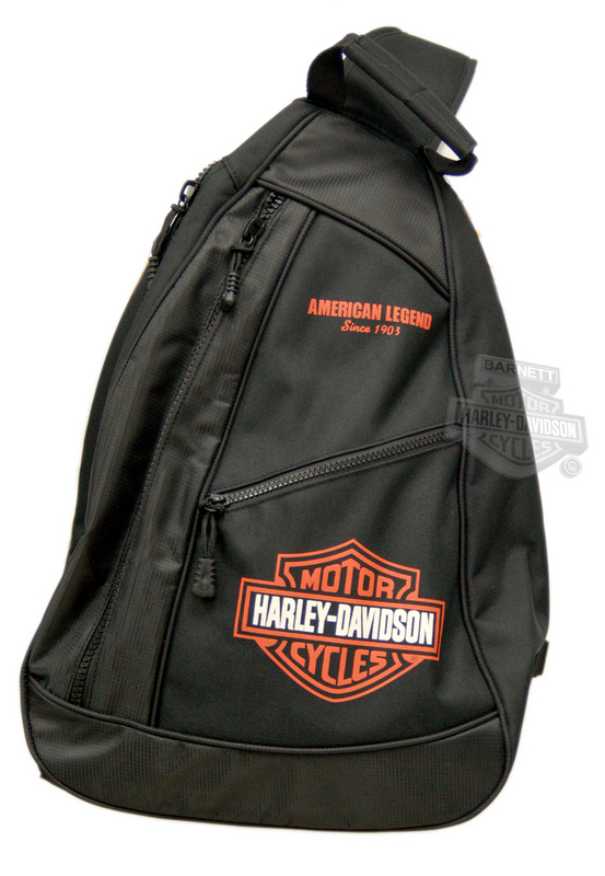 Harley-Davidson® Backpack Black Sling with Orange B&S