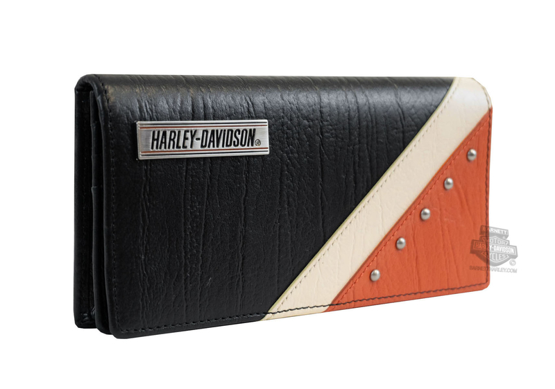 Harley-Davidson® Womens Orange Colorblock Studded Bifold Leather Clutch  Wallet a53b6d30e7
