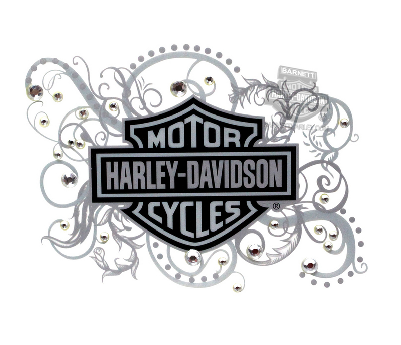 Harley-Davidson® B&S With Filigree Cling Bling® Static Cling Decal