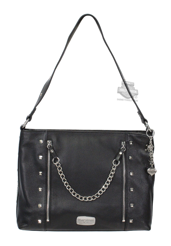 Harley-Davidson® Womens Chain Gang Bucket Black Leather Purse