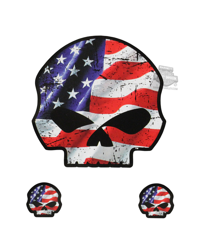 Harley-Davidson® Willie G Skull American Flag Stick Onz™ Decal