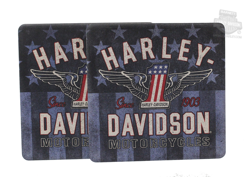 Harley-Davidson® Red, White & Blue #1 Wings Sandstone Coasters