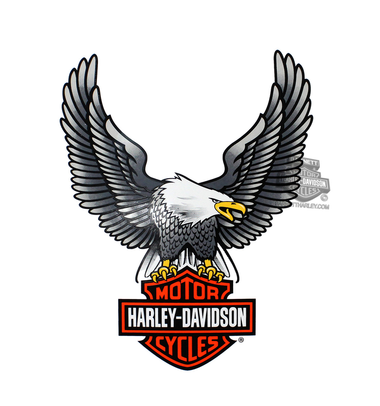 Harley-Davidson® Silver Upwing Eagle Large Decal