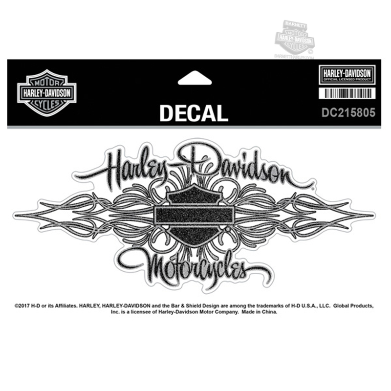 Harley-Davidson® Womens Signature Pinstripe B&S Glitter X-Large Decal