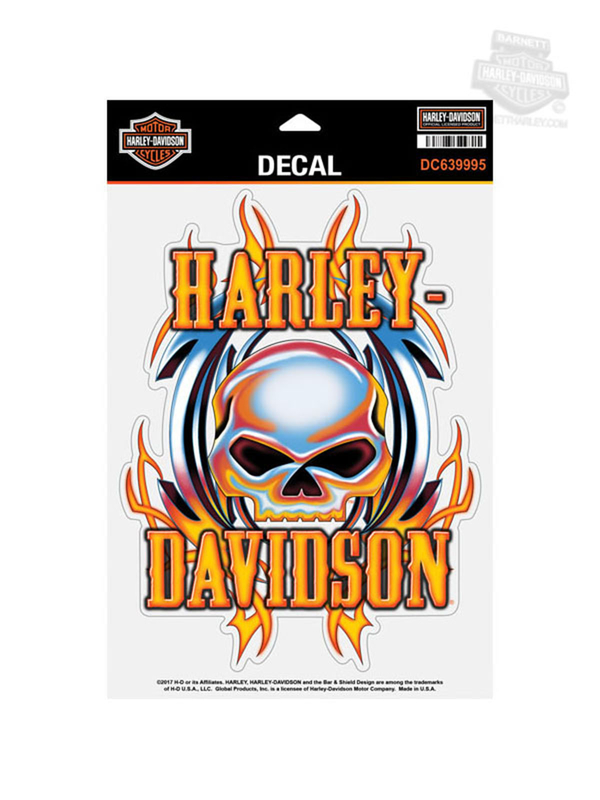 Harley-Davidson® Vicious Skull Willie G with Flames X-Large Decal