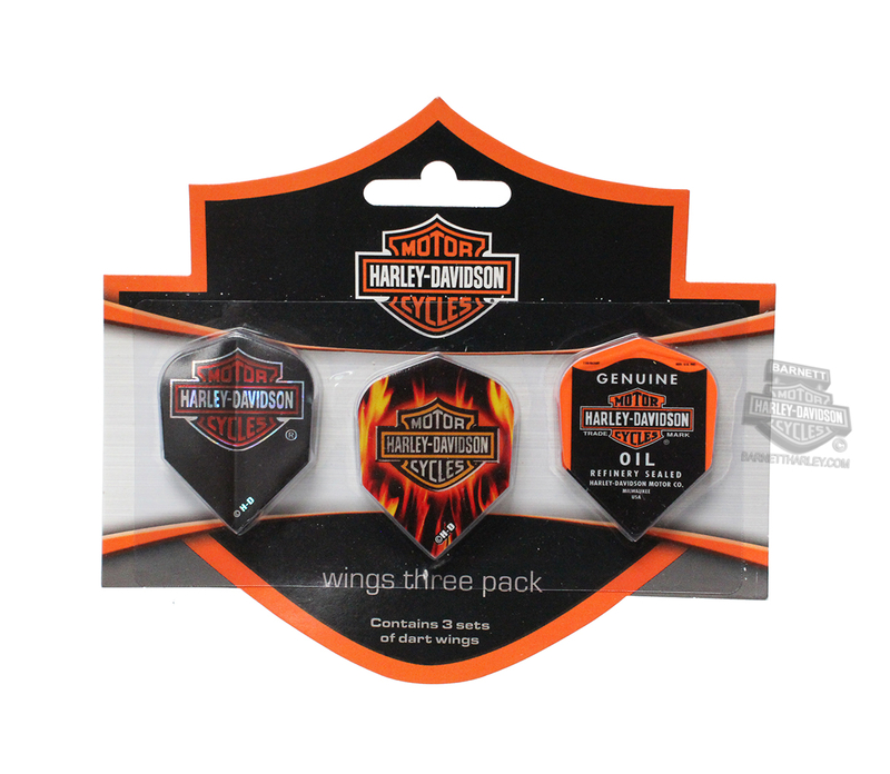 Harley-Davidson® Flights Standard 3 Pack Black Dart Wings