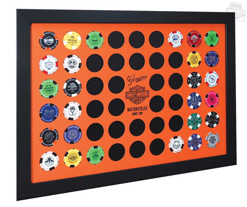Harley-Davidson® Genuine B&S Orange 52 Count Poker Chip Collector Black Frame