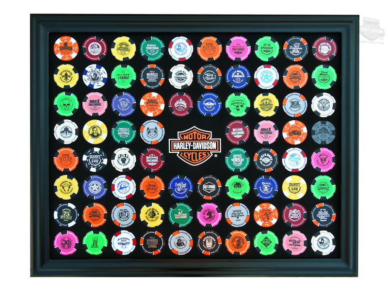 Harley-Davidson® Black Foam B&S 76 Count Poker Chip Collector Black Frame