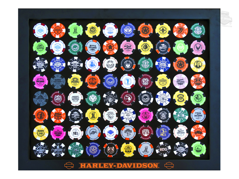 Harley-Davidson® Black Foam 80 Count Poker Chip Collector Black Frame