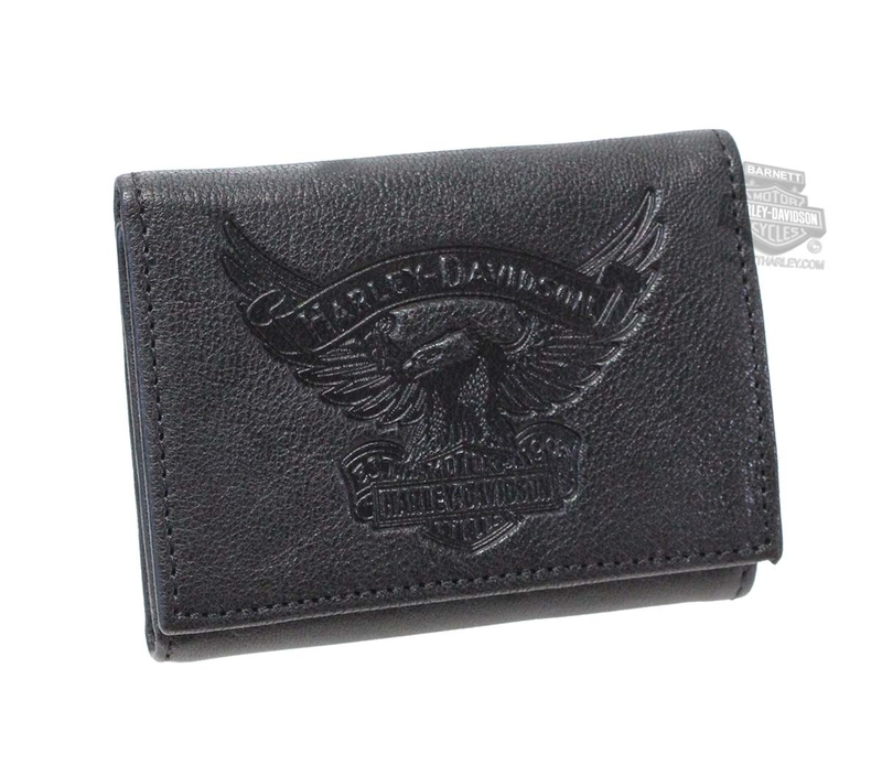 Harley-Davidson® Mens Eagle Emboss Trademark B&S Black Leather Trifold Wallet