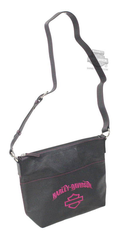 Harley-Davidson® Womens B&S Embroidery Bucket Black Leather Purse