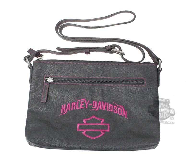 Harley-Davidson® Womens B&S Embroidery Crossbody Black Leather Purse