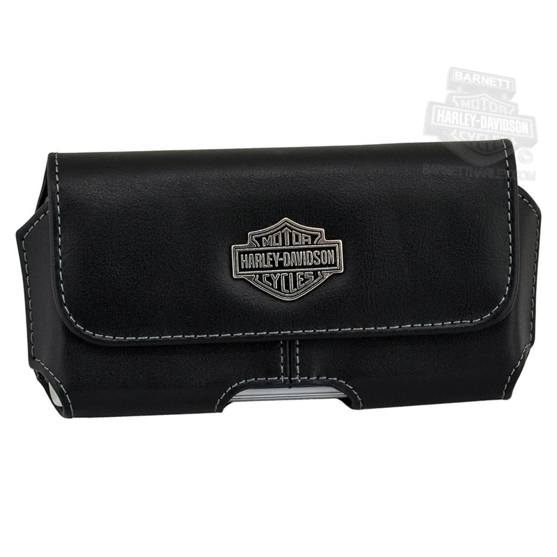 Harley-Davidson® Universal Fit B&S Medallion Horizontal Large Black Leather Phone Case