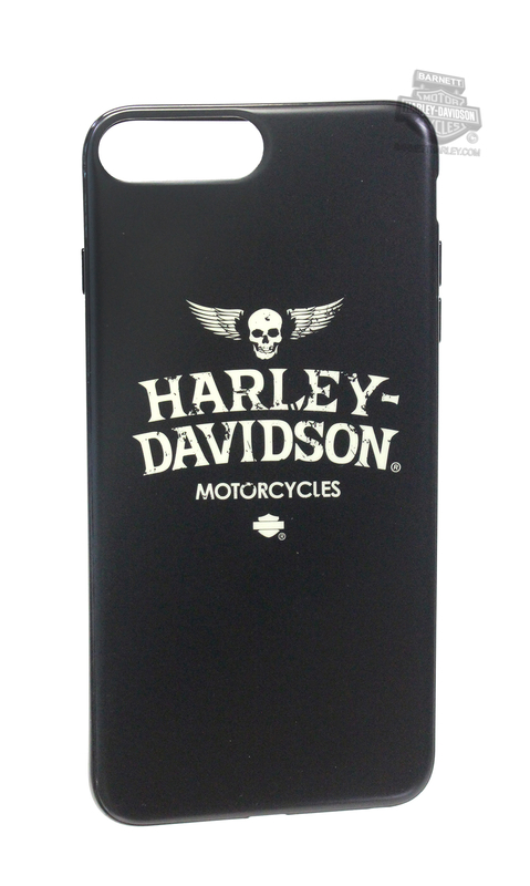 Harley-Davidson® Mens iPhone 8 Plus Winged Skull TPU Flexible Black Phone Shell