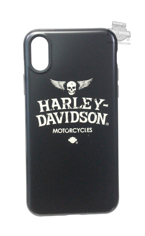 Harley-Davidson® Mens iPhone X Winged Skull TPU Flexible Black Phone Shell