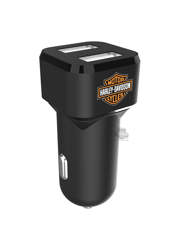 Harley-Davidson® Venture B&S Dual USB Black Vehicle Charger
