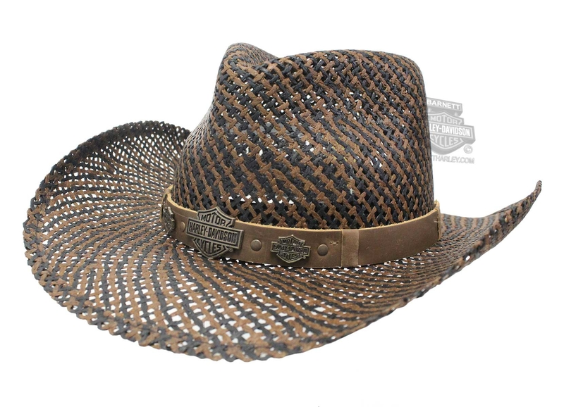 Harley-Davidson® Mens B&S Concho Band Twisted Toyo Brown Straw Hat