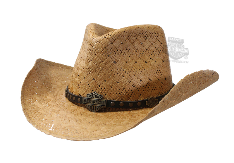 Harley-Davidson® Mens Antique Brass B&S Fancy Band Toyo Natural Straw Hat