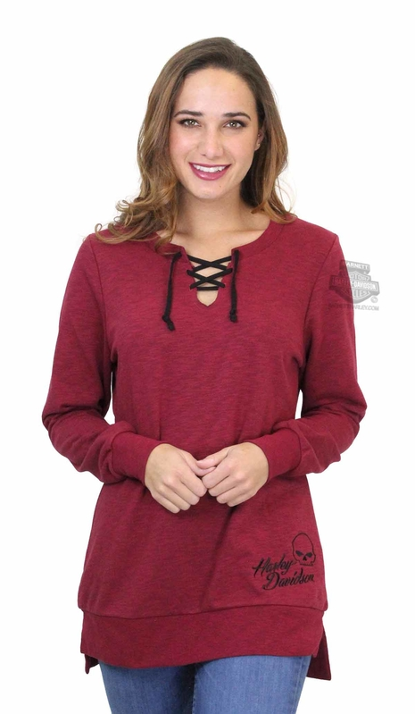 ** BIG SIZES ONLY ** Harley-Davidson® Womens Spikey Skull Willie G Lace-Up Tunic Garnet Long Sleeve T-Shirt