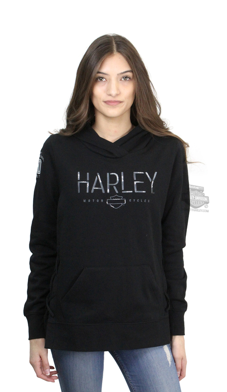 ** BIG SIZES ONLY ** Harley-Davidson® Womens Tough Engine B&S Pullover Black Long Sleeve Hoodie