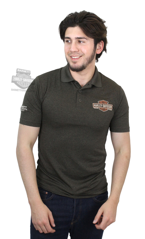 Harley-Davidson® Mens Sinister Race Trademark B&S Olive Short Sleeve Polo *36H3*