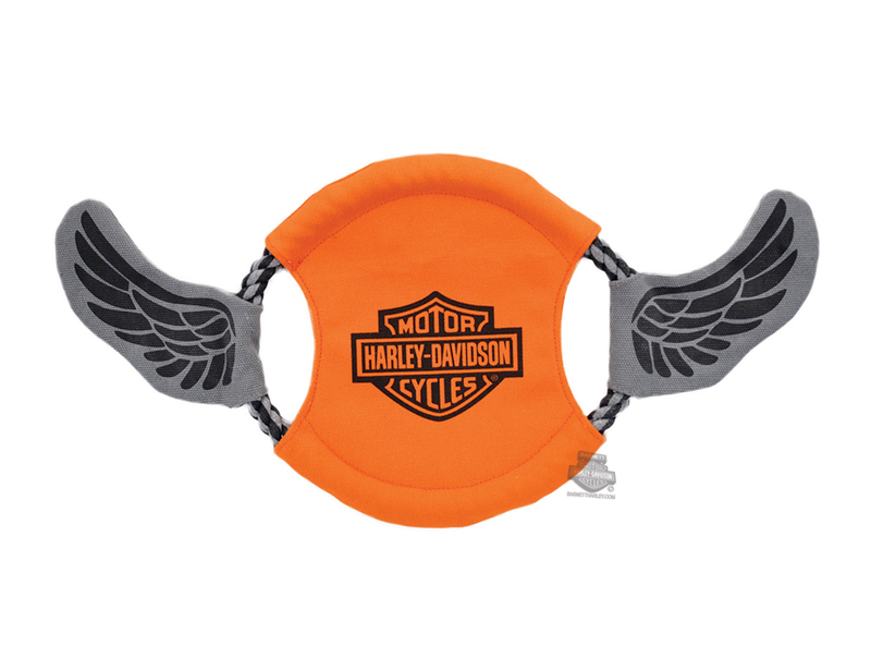 Harley-Davidson® Canvas Flying Disk with B&S & Wings Orange Pet Toy
