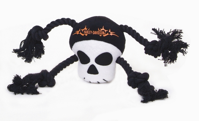 Harley-Davidson® Pet Plush Toy Skull Rope Tug