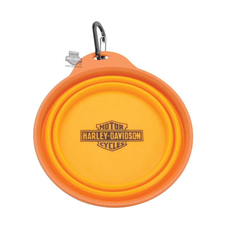 Harley-Davidson® B&S Logo 20 oz. Collapsible Travel Orange Pet Bowl