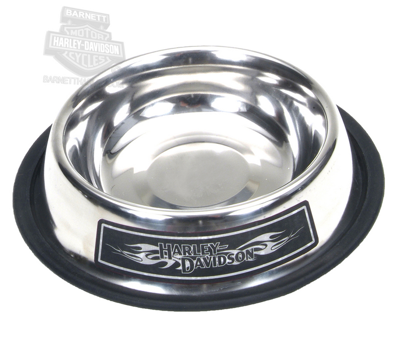 Harley-Davidson® HD Name with Tribal Flames Stainless Steel 16 oz. Silver Pet Bowl