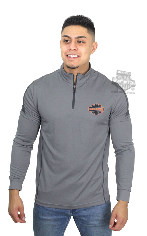 Harley-Davidson® Mens Elite Injection B&S Mock Neck Synthetic 1/4-Zip Grey Long Sleeve T-Shirt *40th*